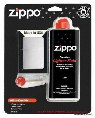 Zippo 28492 all-in-one kit 200 accendino, fluido di ricarica 125 ml, pietrine