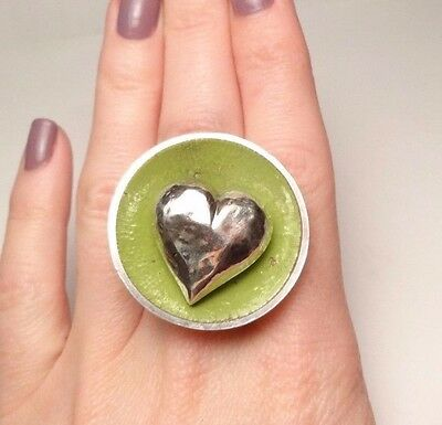 Unique Lime Green Enamel Puffy Heart Ring Sterling Silver 925 Size 7.5 Adjustab