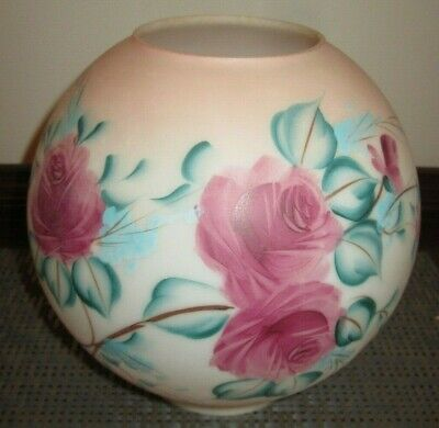 Hand Painted Vtg Ball Globe Glass Lamp Shade Pink Roses GWTW Banquet Parlor Oil