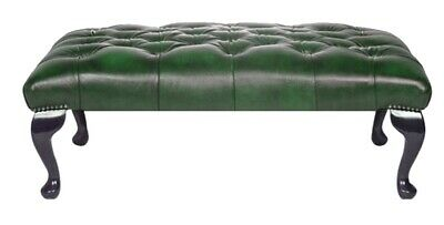 Large Chesterfield Footstool Table 100% Antique Green Leather