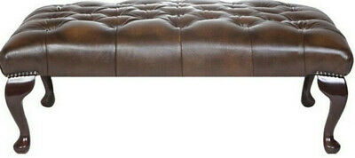 Large Chesterfield Footstool Table 100% Antique Brown Leather