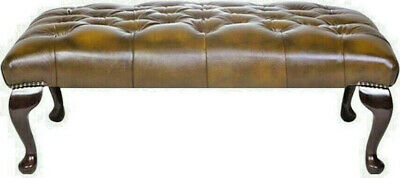 Large Chesterfield Footstool Table 100% Antique Tan Leather