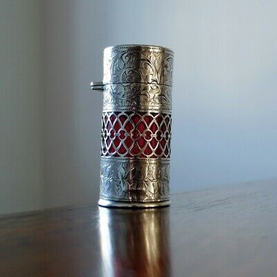 EDWARDIAN SILVER AND CRANBERRY GLASS SCENT BOTTLE Antique Ruby Perfume Salts