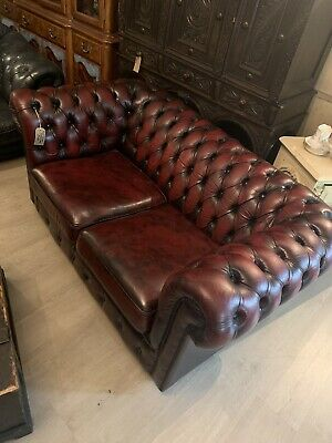 Oxblood Leather Two Seater Button Back Chesterfield Sofa Settee