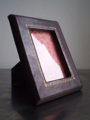 Small Photo Frame Antique Leather Gold Window Deco 'My First Year' Babys View 8