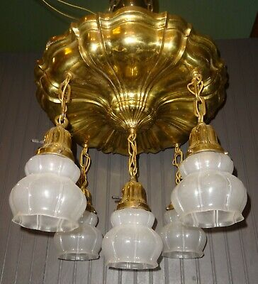 Fabulous Antique Brass Ceiling Light Fixture w/5 Glass Shades Restored