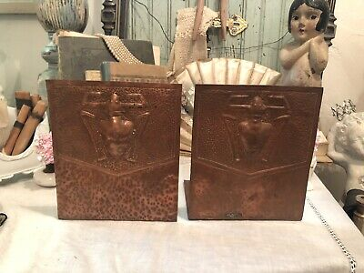 Vtg Arts & Crafts Craftsman Style Hand Hammered Copper Bookends Egyptian Beetle