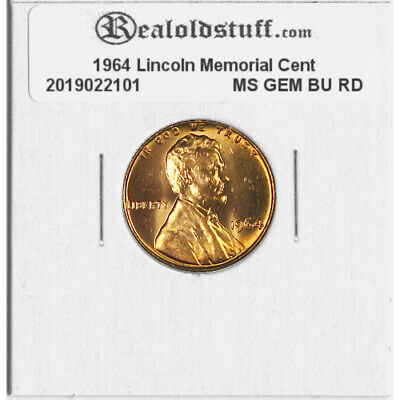 1964 Lincoln Memorial Cent Penny - MS GEM CHOICE BU UNC RED RD COPPER