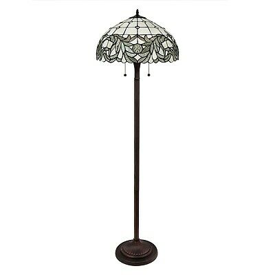 """Tiffany Style Handcrafted White Floor Lamp 18"""" Shade"""