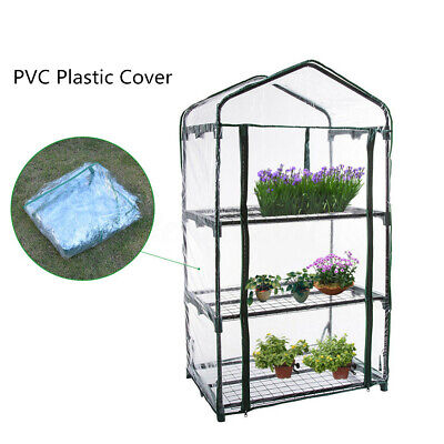 3 Tier Mini Greenhouse Cover Growbag Growhouse PVC Cover Plastic Walk In Garden