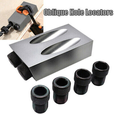 6/8/10mm Pocket Hole Jig Kit DIY Woodworking Oblique Drill Angle Hole Locator US