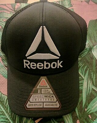c64e4a6bcdacc2 Mens Reebok Baseball Cap Hat Crossfit Quick Dry Black White Embroidered  Delta