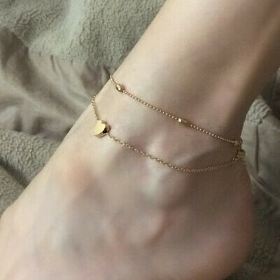 Boho Women Fashion Ankle Bracelet Silver/Gold Anklet Foot Jewelry Chain Beads UK