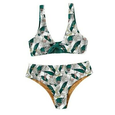Green Feather Print Women's Swimsuit Two Piece Bathing Suit Beach Swimwear Set