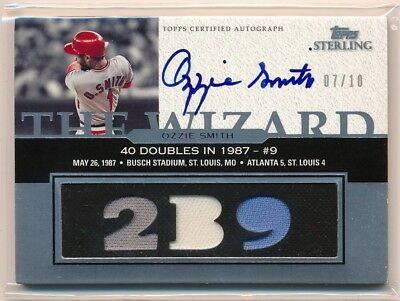 OZZIE SMITH 2006 Topps Sterling Moments AUTO TRIPLE BAT JERSEY /10 CARDINALS HOF
