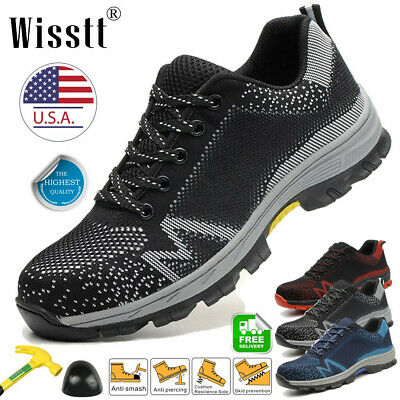 Mens ESD Steel Toe Safety Shoes Work Boots Lightweight Indestructible Sneakers M