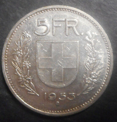 Switzerland 1953 5 Franc Silver Coin  Nice Better Detail