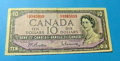1954 Bank of Canada 10 Dollar Note - F15