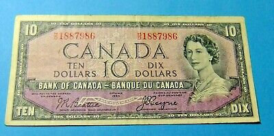 1954 Bank of Canada 10 Dollar Note - DEVILS FACE - VF