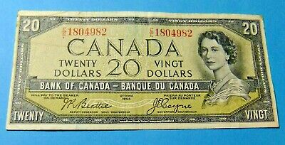 1954 Bank of Canada 20 Dollar Note - DEVILS FACE - VF