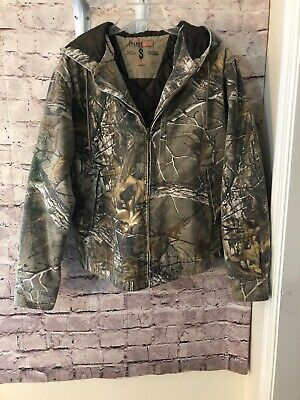 1488dfd840aa4 Camouflage Full Zip Hooded Jacket RedHead Silent Hide Quilted Lining Sz Sm  EUC