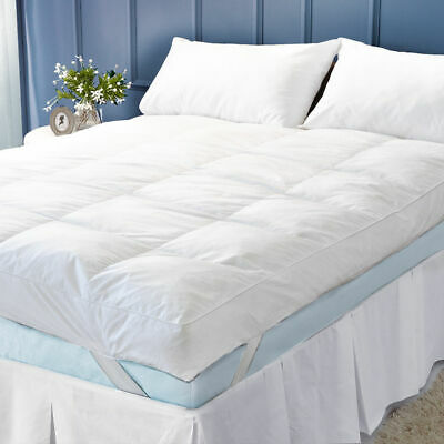 Goose Feather Down Mattress Topper Enhancer Luxury ExtraDeep Bed Protector Hotel