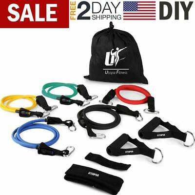 Resistance Tubes Bands Workout Exercise Fitness Train Loop Set Elastic Stretch