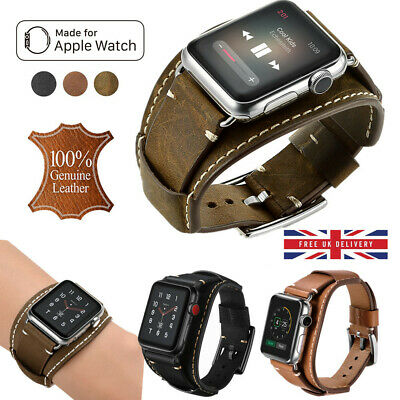 Handmade Genuine Leather Wrist Band Strap For Apple Watch 1/2/3/4 iWatch 38/42mm