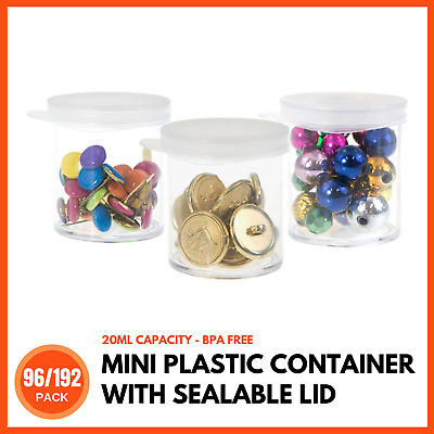 SMALL PLASTIC CONTAINER SEALABLE LIDS 20mL Empty Mini Craft Storage Box with Lid