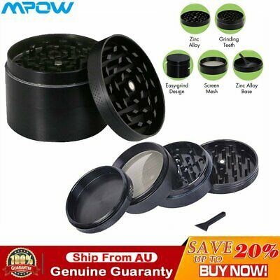 4 Layers Herb Grinder Spice Tobacco/Weed Smoke Crusher Leaf Design Zinc Alloy AU