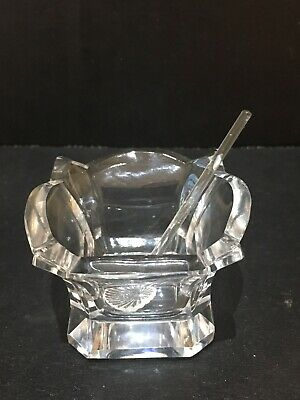 Vintage Crystal Open Salt Cellar With Spoon