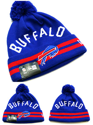 newest 19bc5 1d299 Buffalo Bills New Era Cuffed Pom Blue Red Arched Name Beanie Toque Knit Hat  Cap