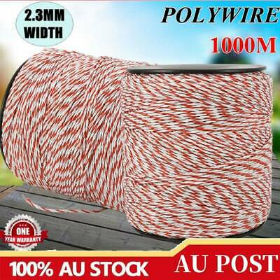 2x500m Roll Polywire Electric Fence Fencing Rope Stainless Steel Poly Wire New