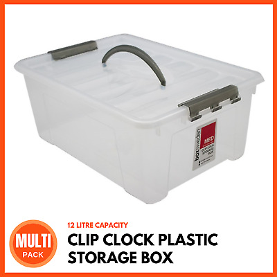 12L CLIP LOCK CLEAR PLASTIC STORAGE BOX Carry Handle Container Tub Bin Box Crate