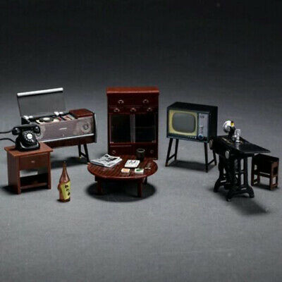 Cabinet Doll House Miniature Furniture 7Pcs/Set Plastic Vintage Ideal Durable