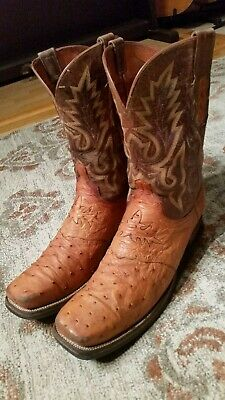 abe817ef56d LUCCHESE 2000 FULL Quill Ostrich & Brown Leather Cowboy Boots #T517100  Men's 12D
