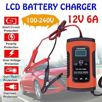 12V Smart Car Battery Charger Automobile Motorcycle LCD Battery Repair UK Plug A