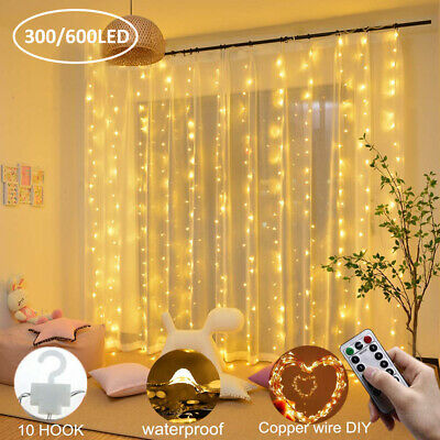 300/600 LED USB Copper Curtain Fairy Lights with remote indoor outdoor party AU