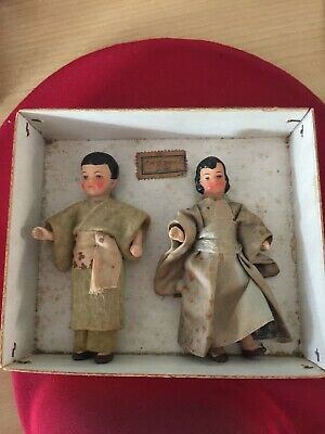 Antique 1930 Pair Of Tiny China Head German Dolls -Never Removed From Their Box