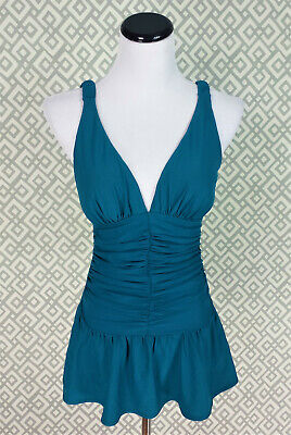 319ff8e596168 Womens Shape Fx Blue One-Piece Swimsuit Pleated Swim Dress Ruched Tutu Size  8