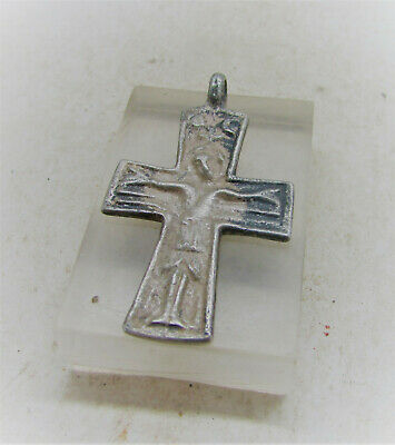 Scarce Ancient Byzantine Silver Cross Pendant With Depiction Of Saint