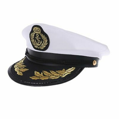 6cad2ec0cefb7 Adult White Yacht Boat Captain Navy Cap Costume Party Cosplay Dress Sailor  Hat
