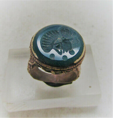 Superb Late Medieval Islamic Gold Gilded Ring With Agate Stone Intaglio