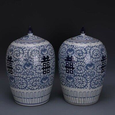 A Pair Nice Chinese Antique Blue White Porcelain Two Xi Vase