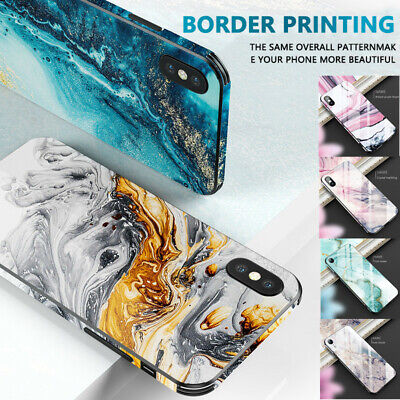 For iPhone XS Max XR X 8 7 6s Cover Tempered Glass Hard Bumper Case Marble Cover