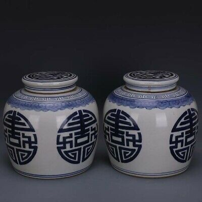 A Pair Nice Chinese Antique Blue White Porcelain Two Xi Teapot