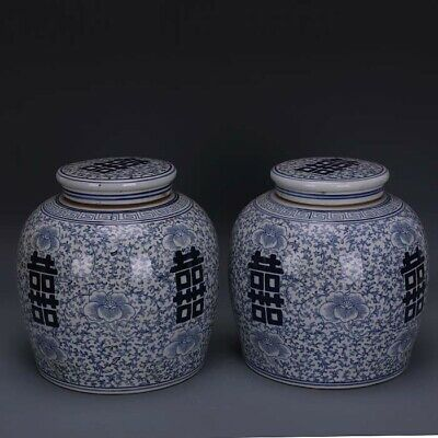 A Pair Chinese Antique Blue White Porcelain Two Xi Teapot