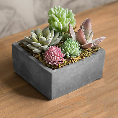 MyGift Mixed Faux Succulent Plant Arrangement in Square Gray Clay Planter