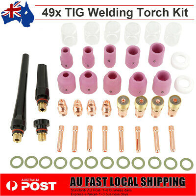 49Pcs TIG Welding Torch Gas Lens Parts Nozzle Cups Collets Kit For WP-17/18/26