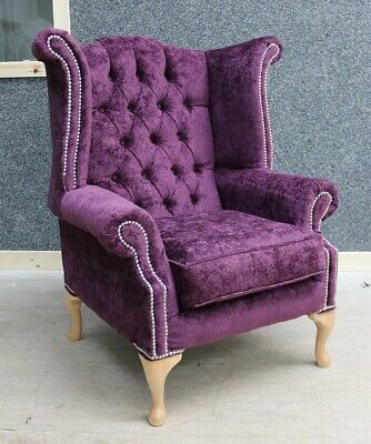 Georgian Chesterfield Queen Anne Buttoned High Back Wing Chair Mulberry Purple